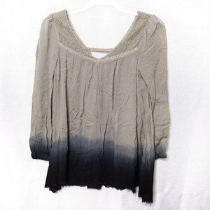 Free People Ombré Dip Dye Black Tan Tunic Top XS